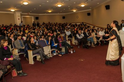 Speaking at Harvard Photo Credit - Shri Kanaskar.